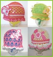 панамки,  летние шапочки ручной вязки
