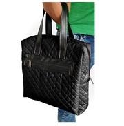 Стильная вместительная женская сумка из стеганного текстиля