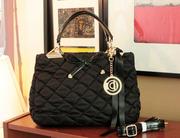 Черная модная сумка из стеганого текстиля