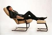 Амортизационное кресло качалка, релакс с пуфом