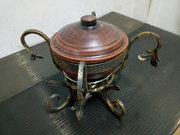 Фондю на углях кованая (спец.комплект из стойки,  котелка и тарелки)